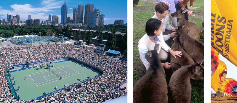 Australian Open Tennis, people hand feeding the kangaroos and hot air balloon in Melbourne